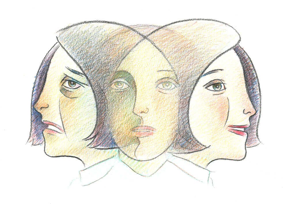 Illustration of face of patient with depression or pain moving from anguished to content