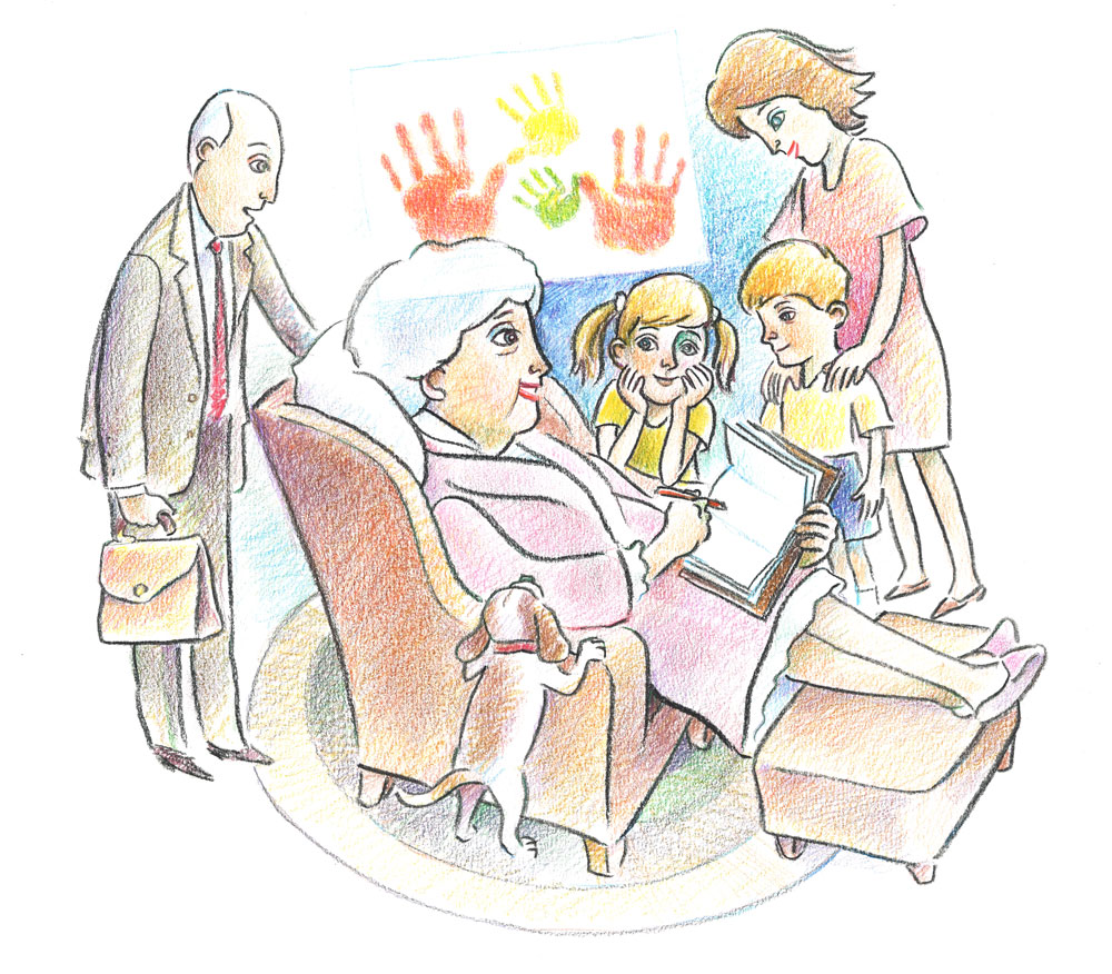 Illustration of older woman writing letter with family surrounding her; her handprints and children's handprints are above