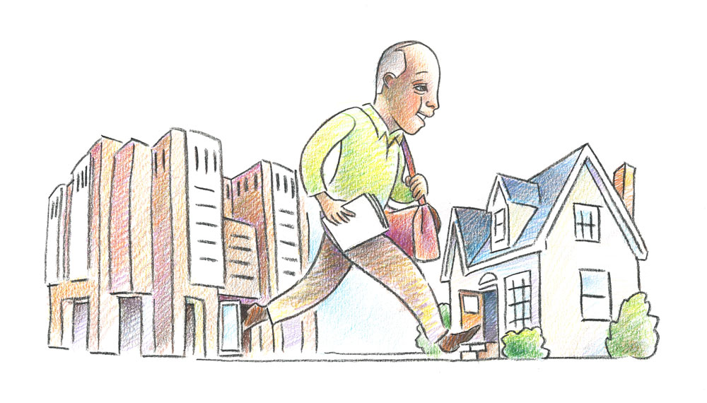 Illustration of man going home from hospital