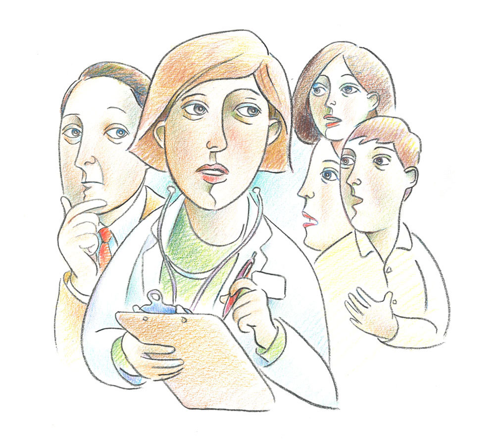 Illustration of physicians listening to patient and family