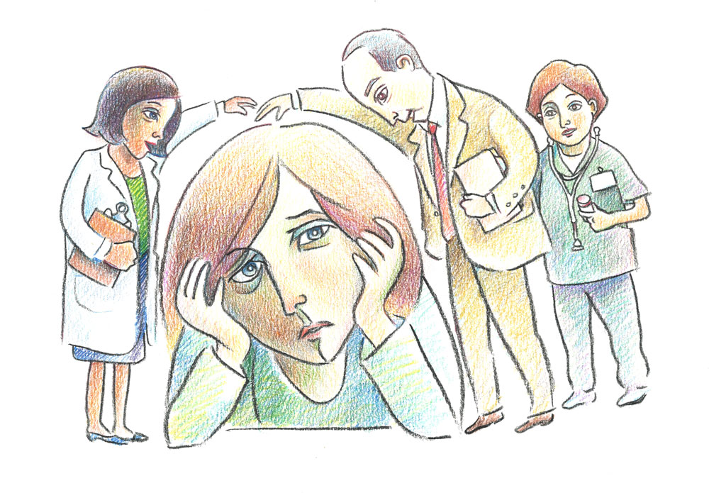 Illustration of care team enveloping anxious patient