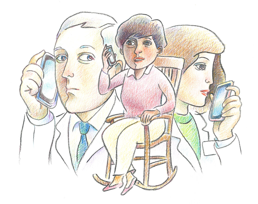 Illustration of physicians on phone with woman in rocking chair