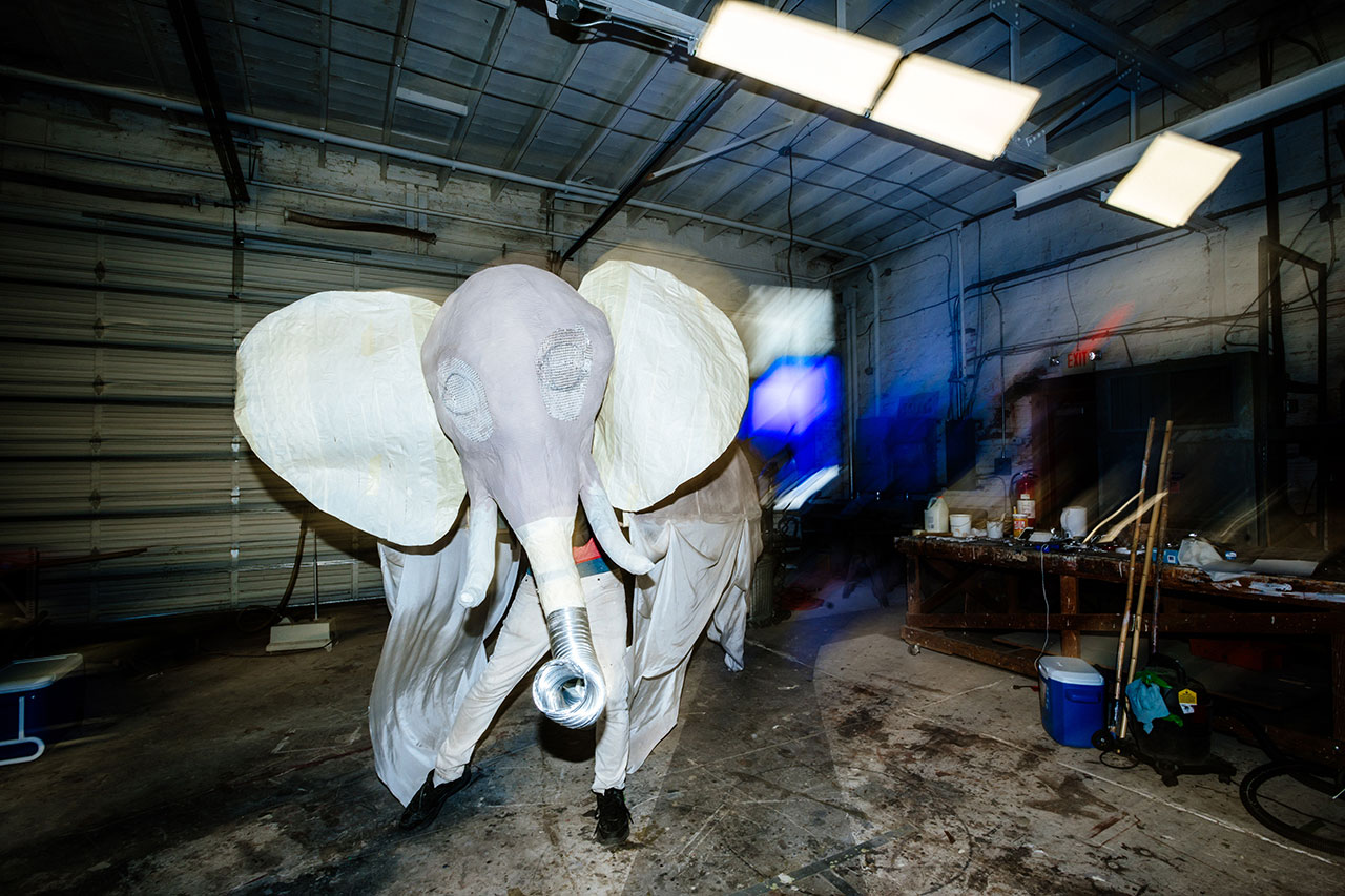 Photo of elephant puppet head in motion