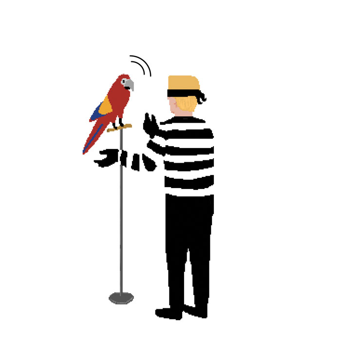 Illustration of cartoon criminal teaching parrot to speak