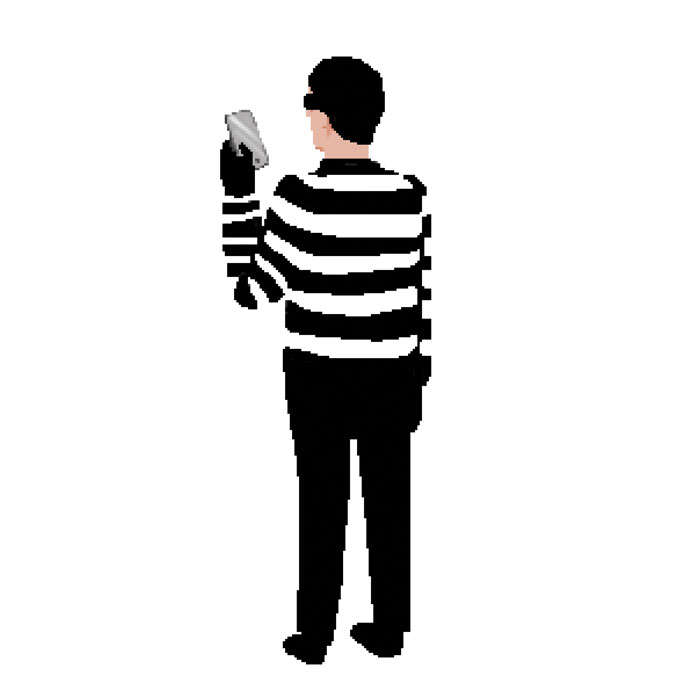 Illustration of cartoon criminal using smartphone