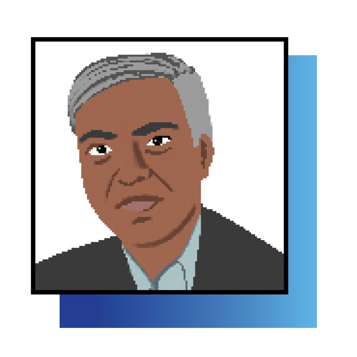 Illustrated head shot of Nitesh Saxena