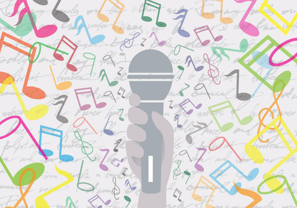 Illustration of hand holding microphone with music notes around it