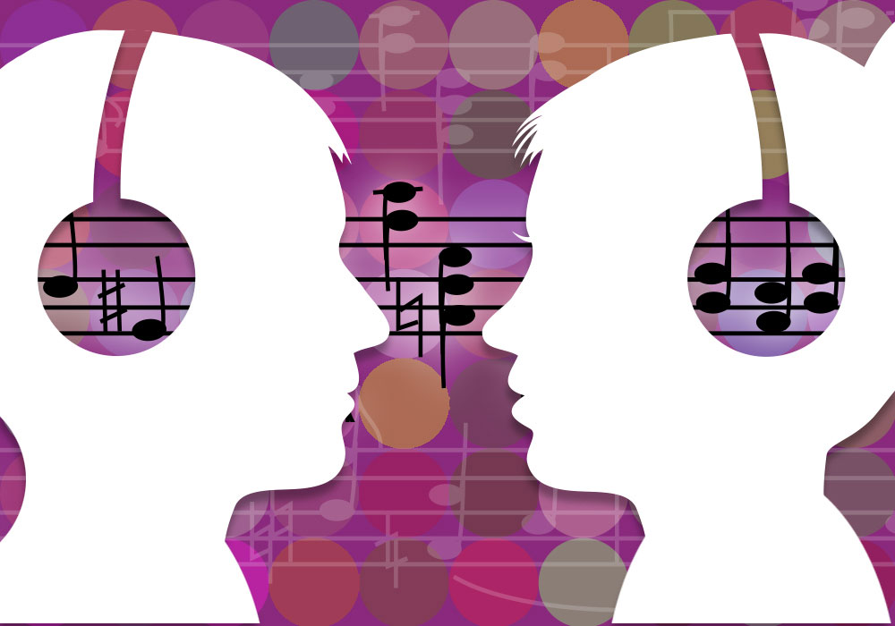 Illustration of two people with headphones with music sequence connecting them