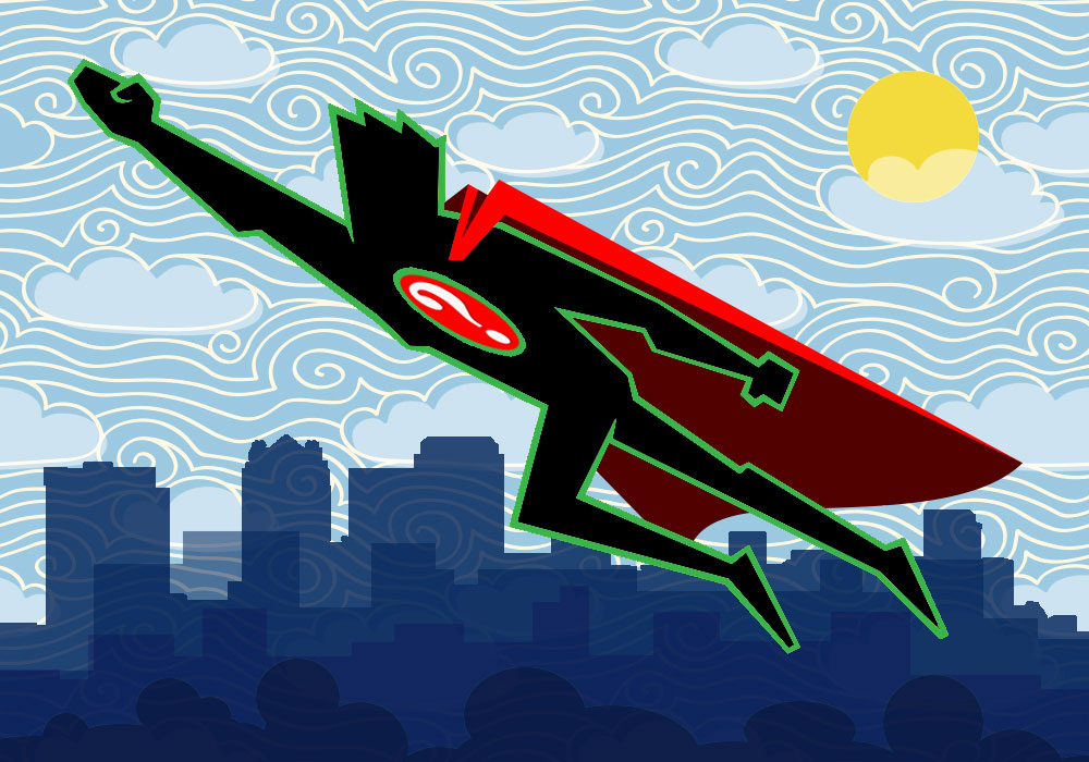 Illustration of superhero above city skyline
