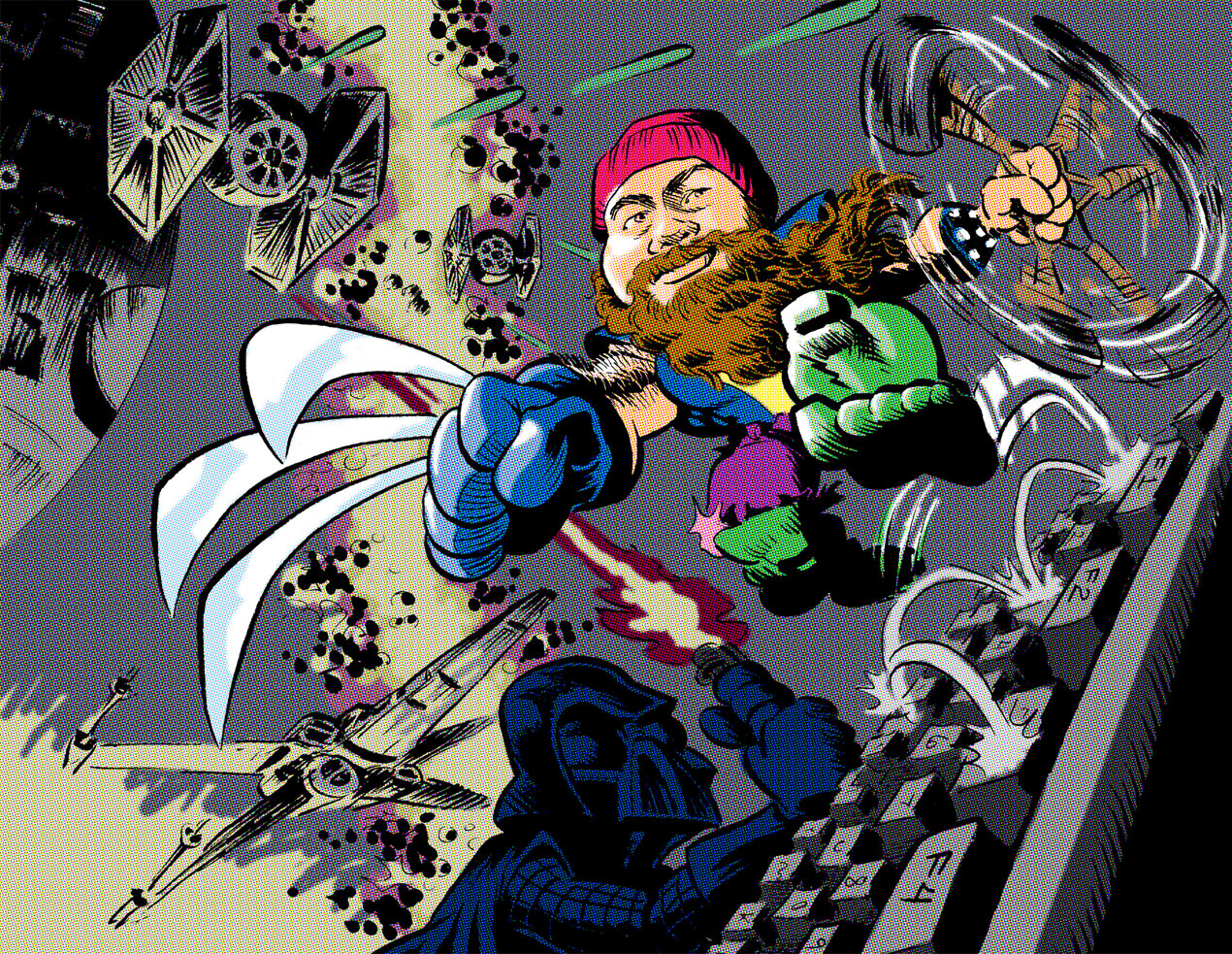 Illustration of Jason Aaron as combination of superheroes fighting Darth Vader on computer keyboard; illustration by Tim Rocks