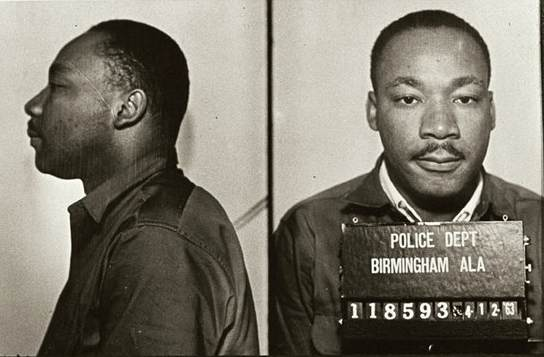 Booking photo of Martin Luther King Jr. from Birmingham jail, 1963