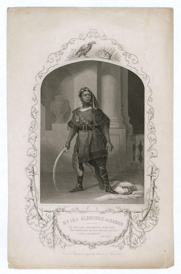 Vintage illustration of Ira Aldridge performing Shakespeare