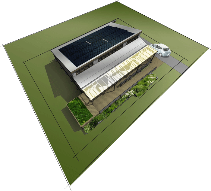 Rendering of Solar Decathlon house viewed from above