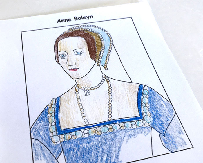 Half-completed coloring page of Anne Boleyn