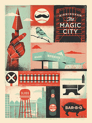 Poster featuring Birmingham icons created by Mike Tabie