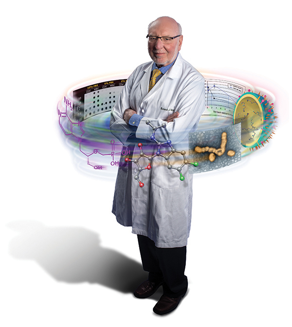Illustration of Richard Whitley surrounded by elements of drug discovery