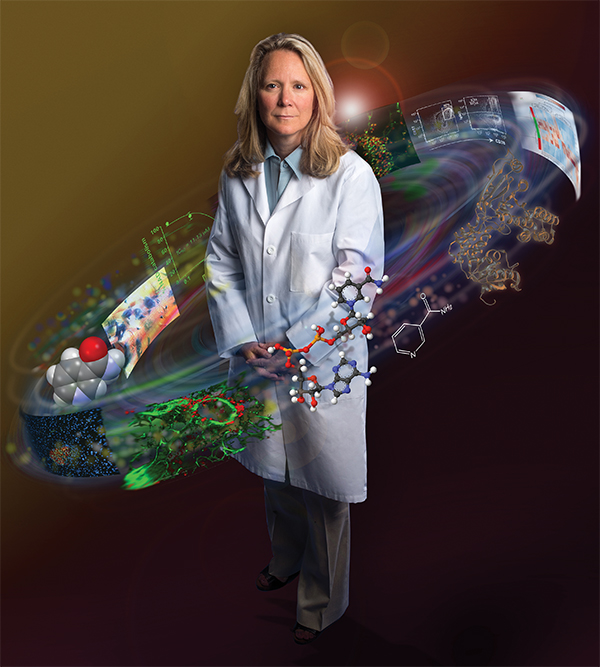 Illustration of Fran Lund surrounded by drug-discovery elements