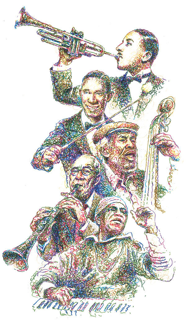 Illustration of five local jazz greats