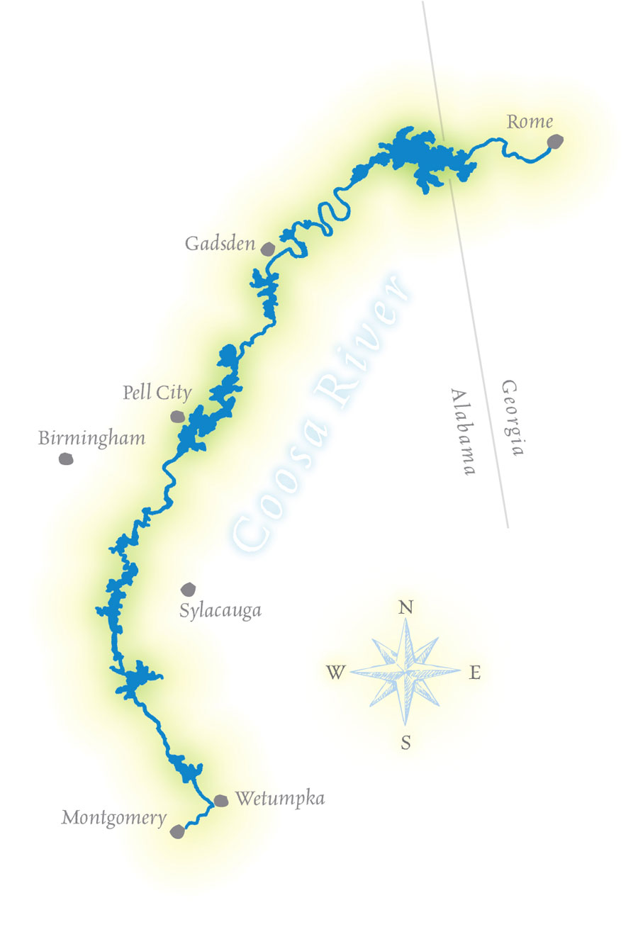 illustrated map of coosa river. uab  magazine  against the current