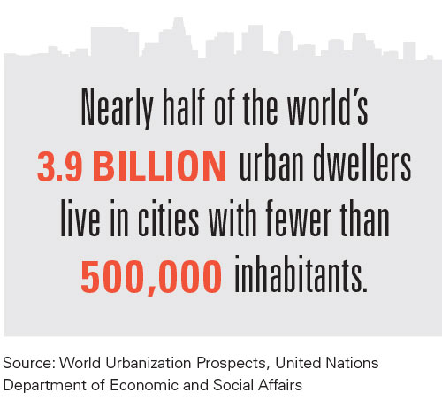 Infographic showing number of urban dwellers living in cities with fewer than 500,000 people