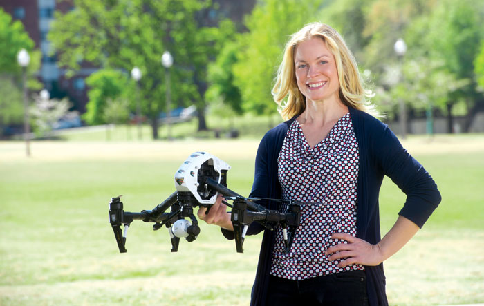 Photo of Elizabeth Bevan with drone
