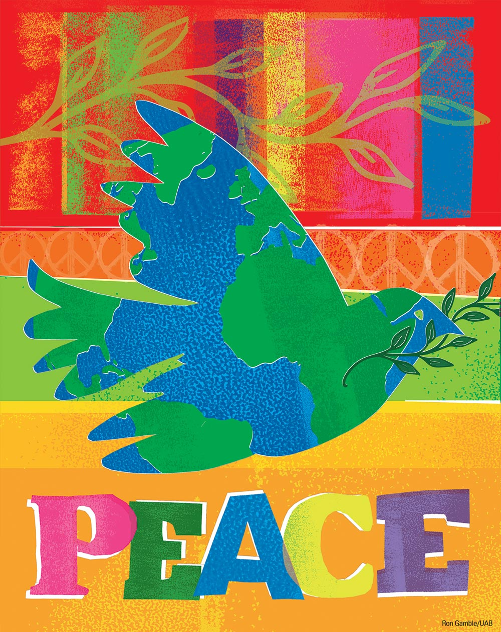 Colorful illustration of dove containing world map over the word 'Peace'; illustration by Ron Gamble