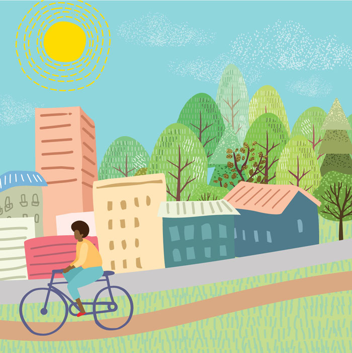 Illustration of woman on bicycle riding on bike path with buildings, trees, and sun behind her