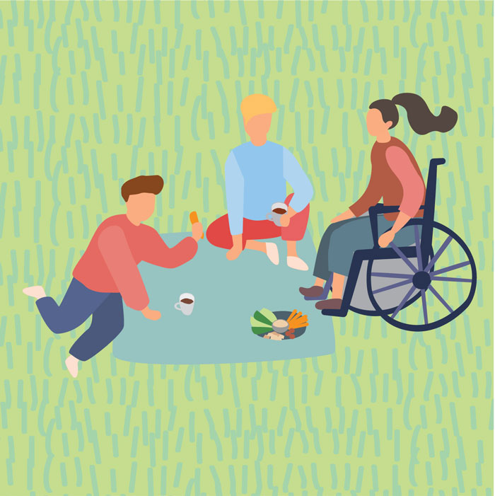 Illustration of three people, including girl in wheelchair, having a picnic on the grass