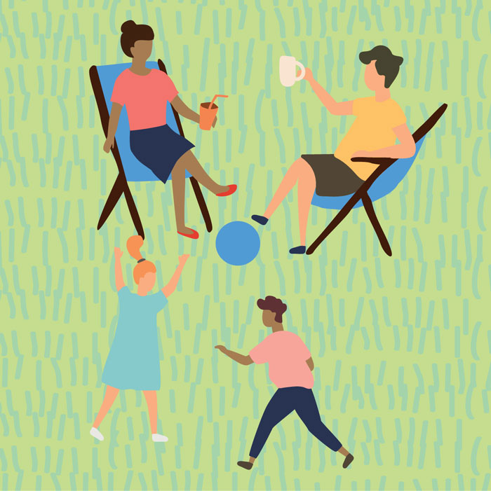 Illustration of two women in chairs talking and two children playing ball in green space