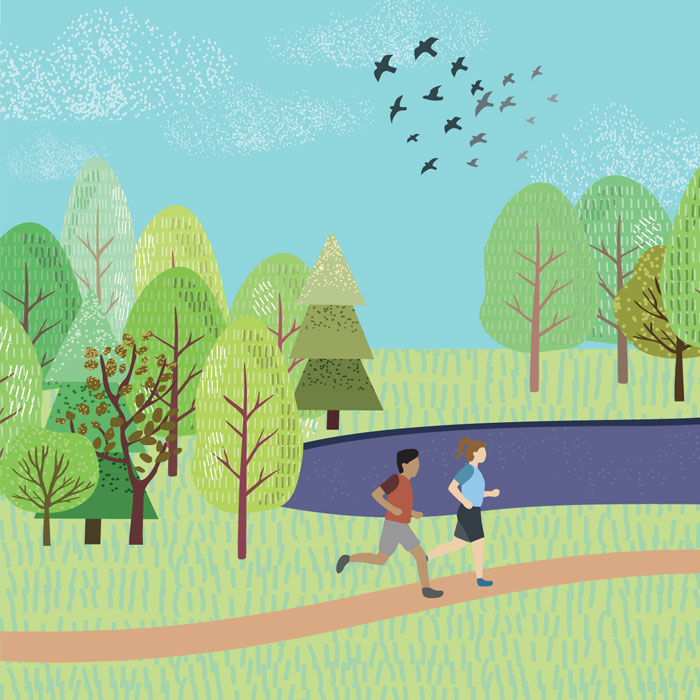 Illustration of two people running in park with trees, blue sky, and flying flock of birds behind them