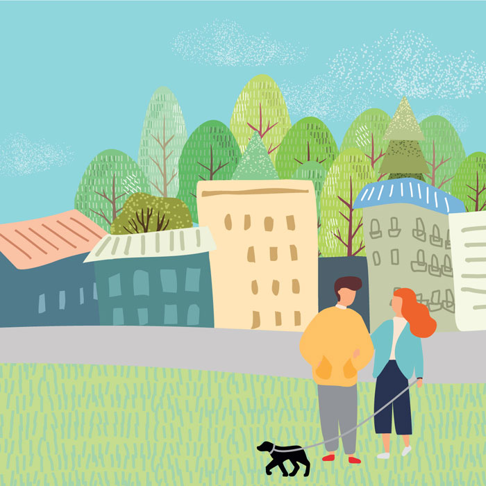 Illustration of two people walking black dog in green space with road, buildings, and trees behind them