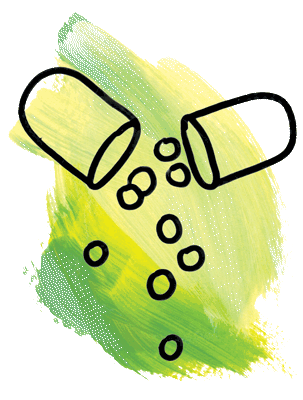Line drawing of open pill capsule with medicine falling out.