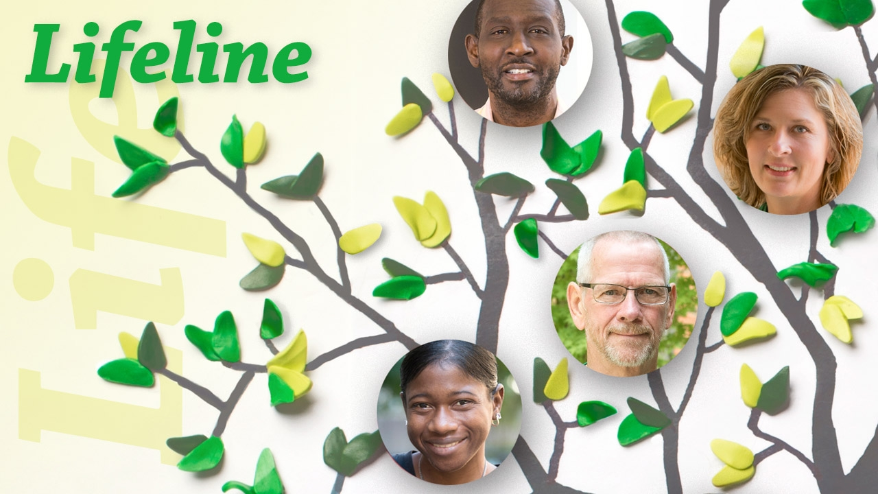 Illustration of tree with photos of some Kidney Chain donors and recipients