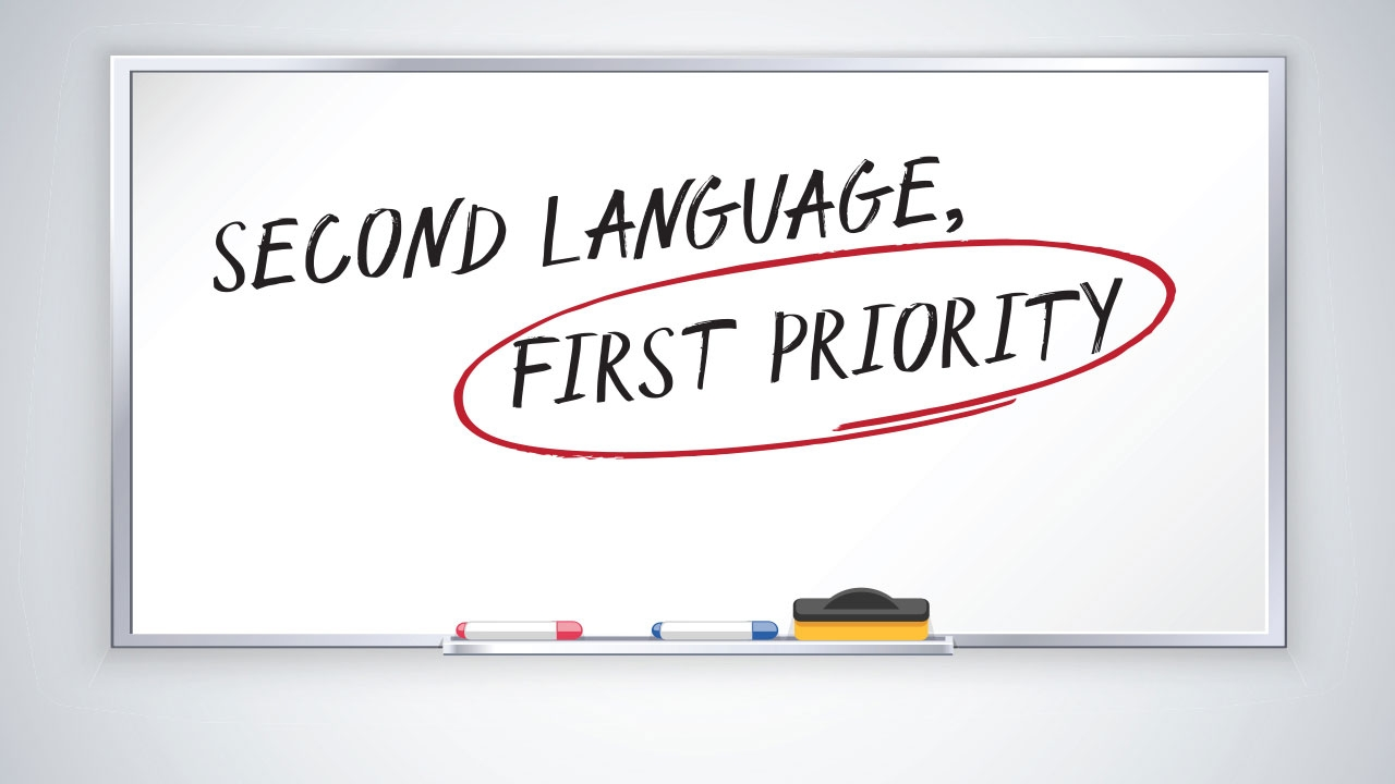 Illustration of whiteboard with headline: Second Language, First Priority