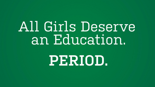 Green banner with headline: All Girls Deserve an Education. Period.