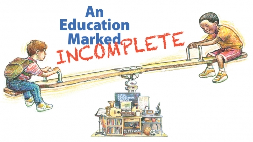 Illustration of two children on seesaw balanced on computers, books, other education items; headline: An Education Marked Incomplete