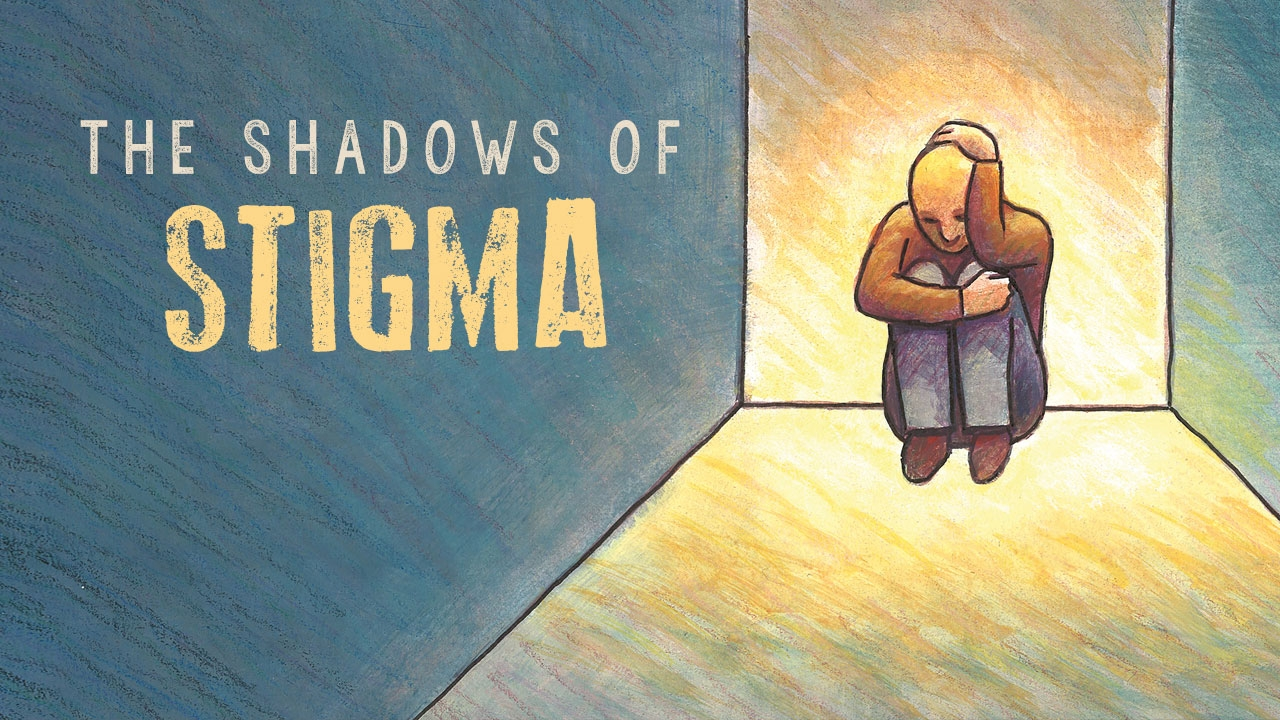 Illustration of man hiding at dead end of hallway; headline: The Shadows of Stigma