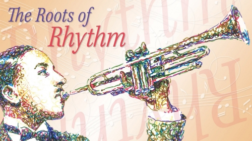 Illustration of Erskine Hawkins with title: The Roots of Rhythm