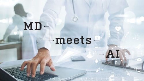 Photo of physician using computer tablets; headline: MD Meets AI