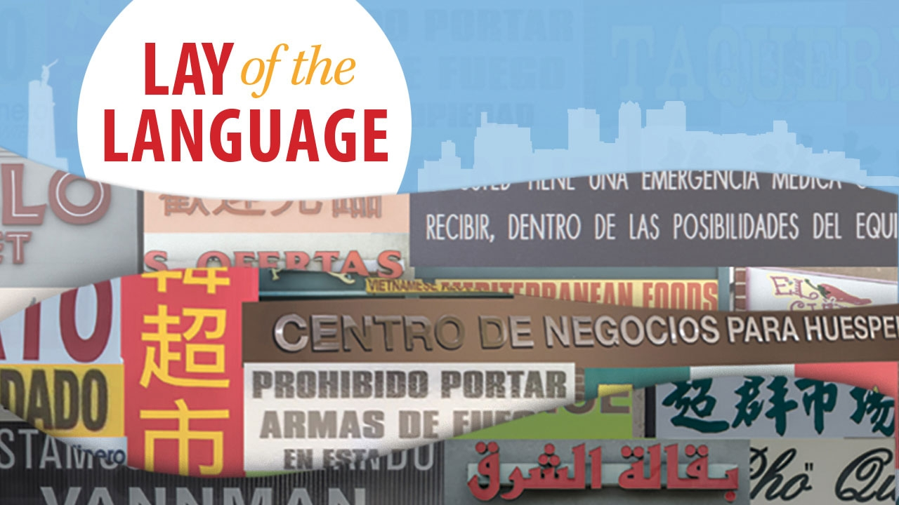 Illustration showing signs in multiple languages with Birmingham skyline in background; headline: Lay of the Language