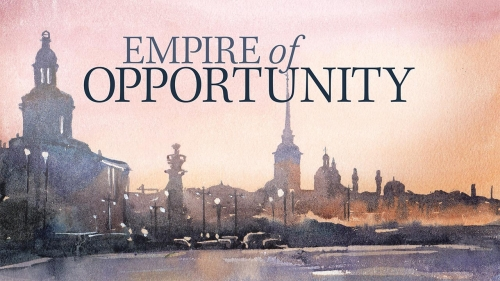 Stock illustration of St. Petersburg, Russia, skyline; headline: Empire of Opportunity