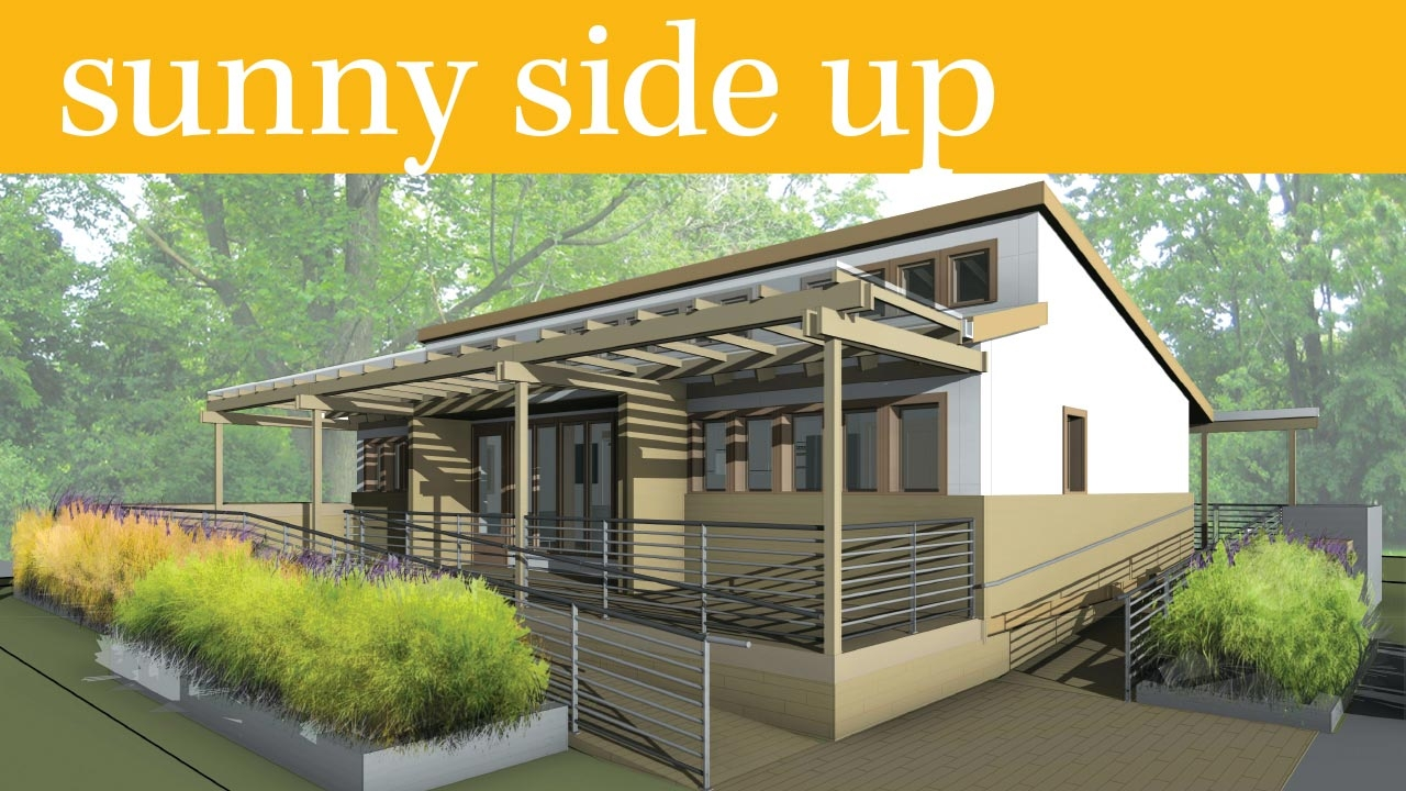 Rendering of completed UAB Solar Decathlon house; headline: Sunny Side Up