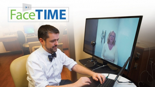 Photo of Eric Wallace conducting telehealth session; headline: Face Time