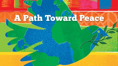 Illustration of world map in the shape of a dove; title: A Path Toward Peace