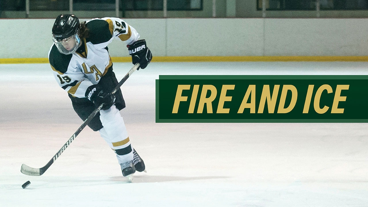 Photo of UAB ice hockey player hitting puck; headline: Fire and Ice