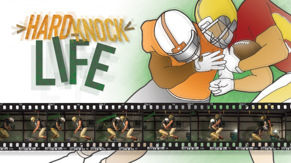 Illustration of football players colliding; photos of dummies crashing into each other. Title: Hard-Knock Life