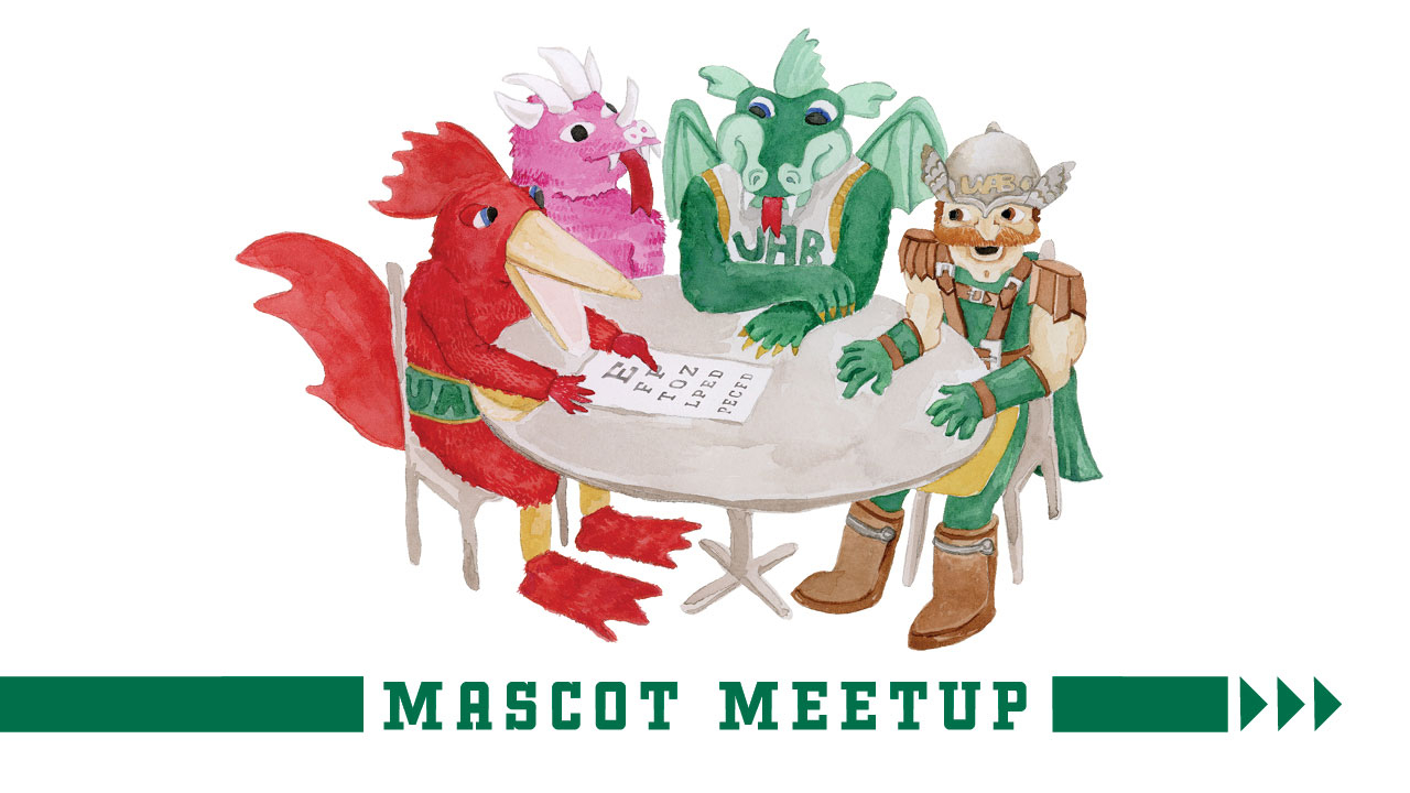 Illustration of Beauregard T. Rooster, the Pink Dragon, Blaze, and Blazer the Warrior around a table, looking at an eye chart; headline: Mascot Meetup