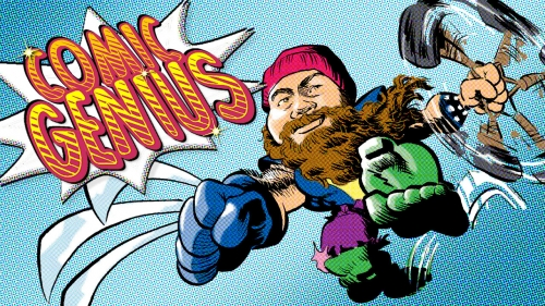 Illustration showing Jason Aaron as combination of superheroes with title: Comic Genius