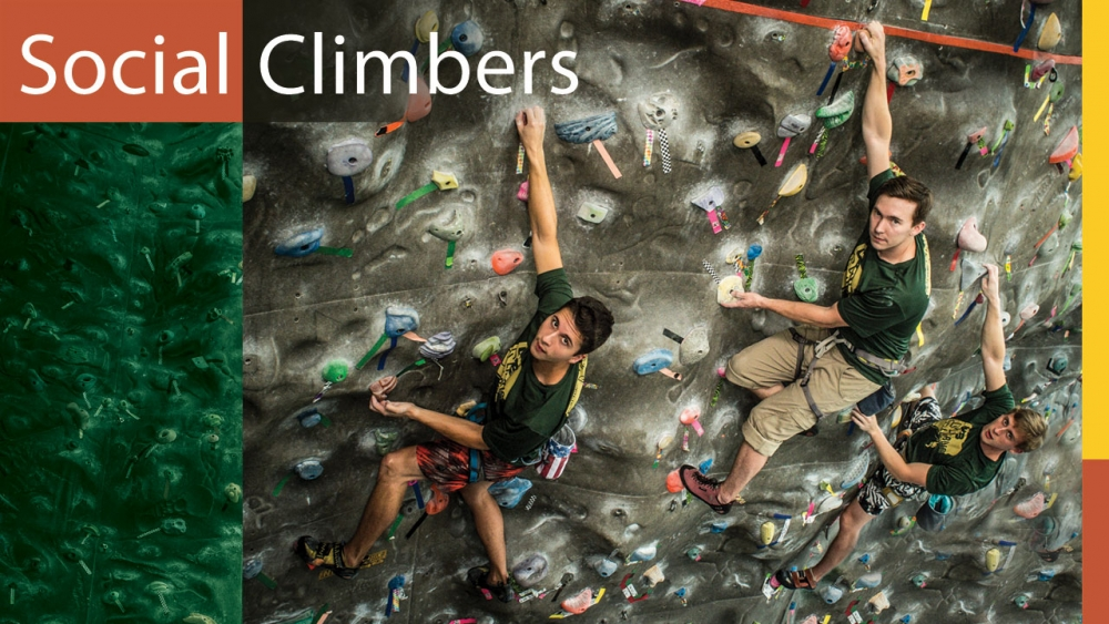 Photo of three Climbing Club members on Campus Recreation climbing wall; title: Social Climbers