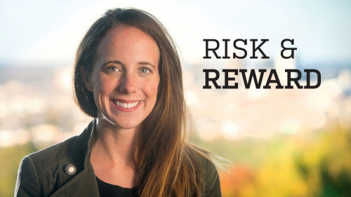 Photo of Taylor Peake Wyatt; headline: Risk & Reward